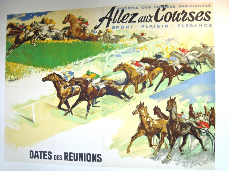 Giant Wallpaper Sized Original French Horse Racing Poster by Jacquot