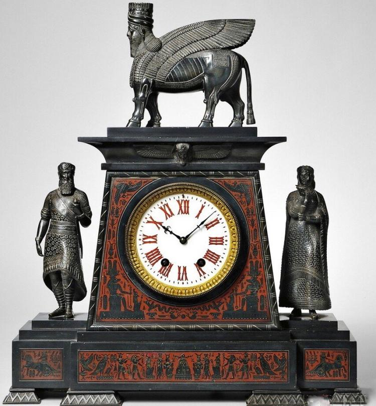 French Grand Tour Assyrian Revival Mantel Clock in Marble and Bronze