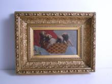 Pugs in a Basket Painting, circa 1875