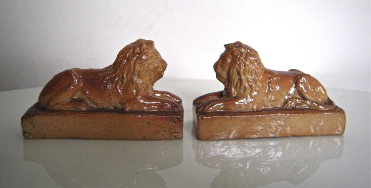 Pair of 19th Century English Stoneware Lions