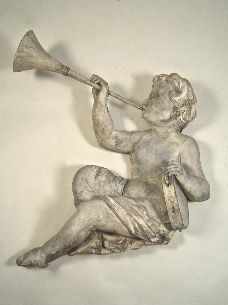 Italian Carved and Painted Wood Musical Putto Wall Decoration