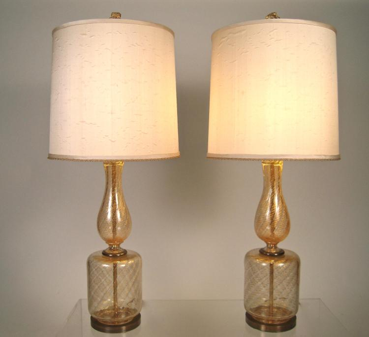 Large Elegant Pair of Venetian Gold and Clear Blown Glass Lamps