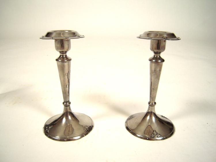 Pair of Arts and Crafts Period Sterling Silver Candlesticks by Shreve and Co., San Francisco