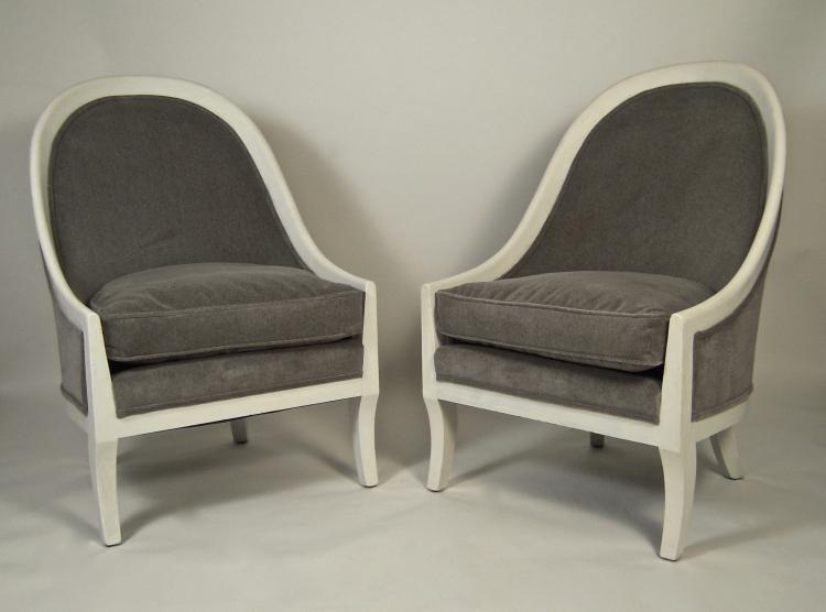 Pair of 1930s Regency Style Gondola Back Upholstered Armchairs