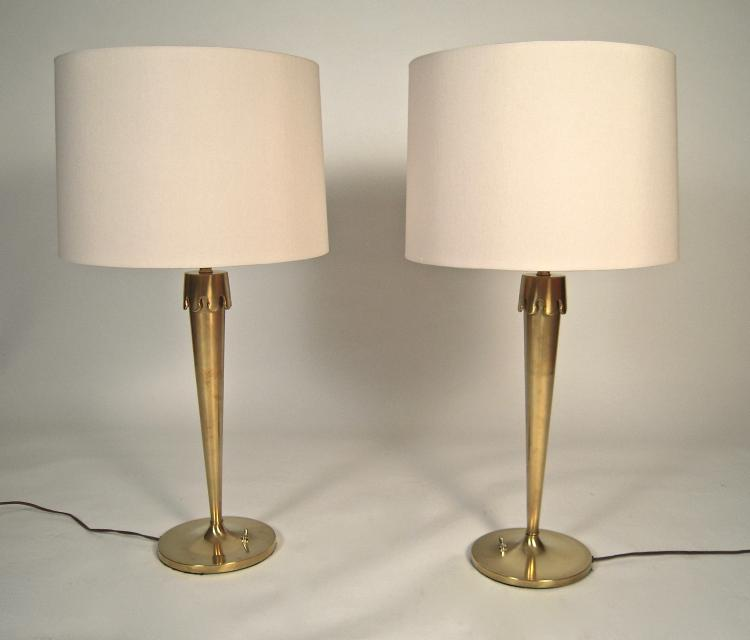 Pair of Mid-Century Modern Brass Crown Lamps