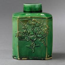 Early Staffordshire Green Glazed Tea Caddy