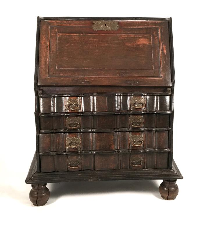 19th Century Dutch Colonial Slant Lid Desk and Chest of Drawers
