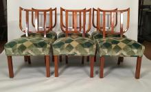 Set of Six Stylish German Neoclassical Style Shield Back Cherry Dining Chairs
