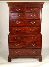 George III Richly Figured Mahogany Chest on Chest