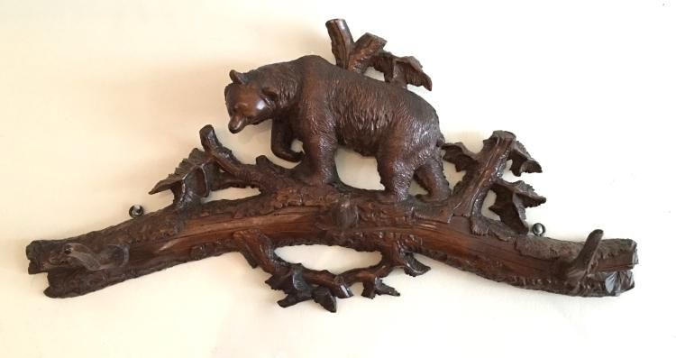 Black Forest Bear Carved Walnut Hat and Coat Rack