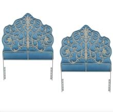 Pair of French Regency-Style Padded Silk and Iron Headboards