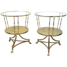Pair of Brass Tripod Double Tier Side Tables