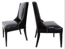 Midcentury Patent Leather Side Chairs with Brass Tacks