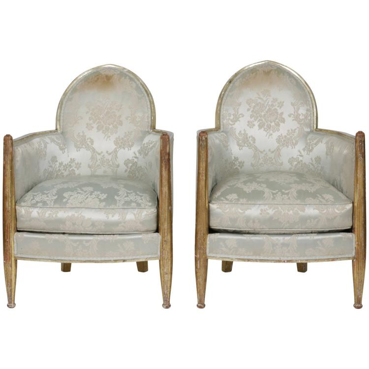Pair Of French Art Deco Club Chairs By Paul Follot, Circa 1930