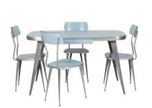 Ernest Race Aluminum and Powder Blue Laminate Dining Set