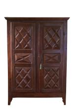 Original Louis XIII-Style Two-Door Armoire Cabinet, French, 19th Century