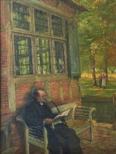 HUGO MIETH (1865-?) PFEIFERAUCHENDER BEIM ZEITUNGLESEN