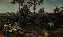 "ALEJANDRO FERRANT Y FISCHERMANS 1843 / 1917 ""Landscape with bridge"""