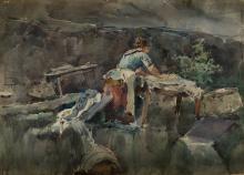 "ALEJANDRO FERRANT Y FISCHERMANS 1843 / 1917 ""Washerwoman"""