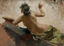 "ALEJANDRO FERRANT Y FISCHERMANS 1843 / 1917 ""Alejandro Ferrant, """"Muse of the Arts"""", o/t,"