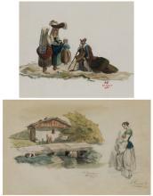 """ALEJANDRO FERRANT Y FISCHERMANS 1843 / 1917 """"Scenes of costumbrism"""""""