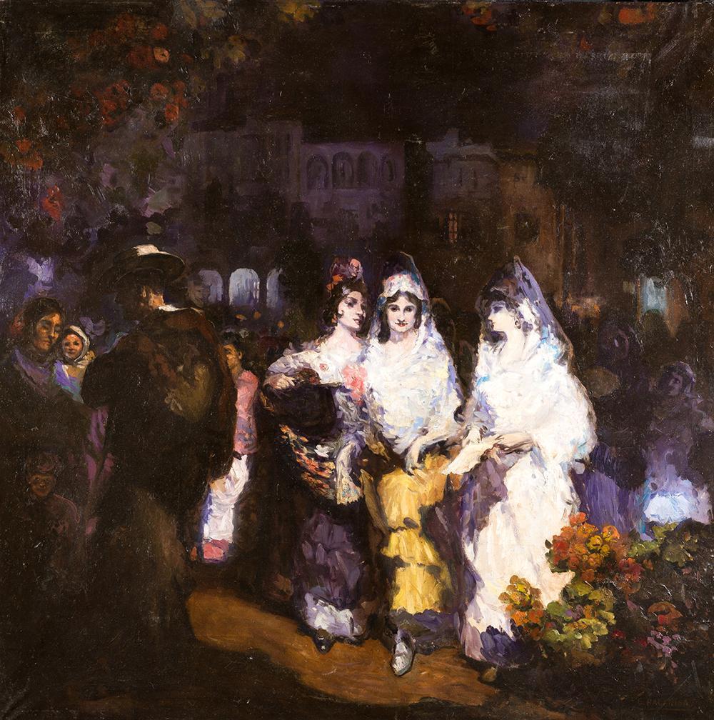 """GUSTAVO BACARISAS (1873 / 1971) """"Sevilla en fiestas"""""""