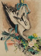 """JOSÉ MIGUEL SERRANO 1912 / 1982 WATERCOLOR """"Cisne"""", 1944 Watercolor br"""