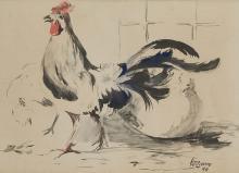 """JOSÉ MIGUEL SERRANO 1912 / 1982 WATERCOLOR """"Gallo"""", 1944 Watercolor on pap"""