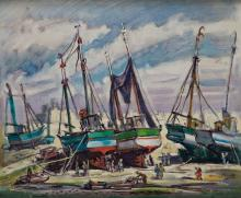 """PEDRO FLORES 1897 / 1967 PAINTING 20TH CENTURY """"Puerto"""" Oil on canvas br"""