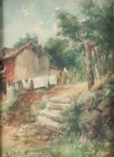 "EUGENIO OLIVA Y RODRIGO (1857 / 1925) ""Country house"""