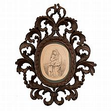 Little and wooden wall mirror