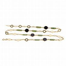 BULGARI chain with round and black tablets and green ovals