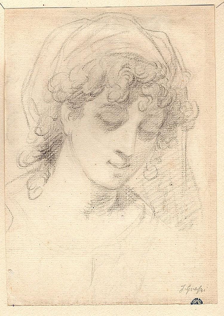 Italian School of the XIXth century, Study of a girl face