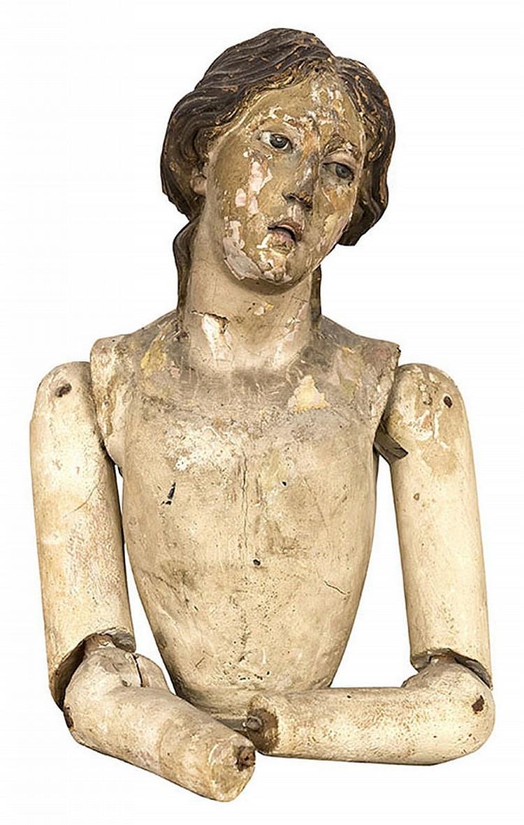 Neapolitan school, 18th Carved Wood Bust Portrait of a Female Saint