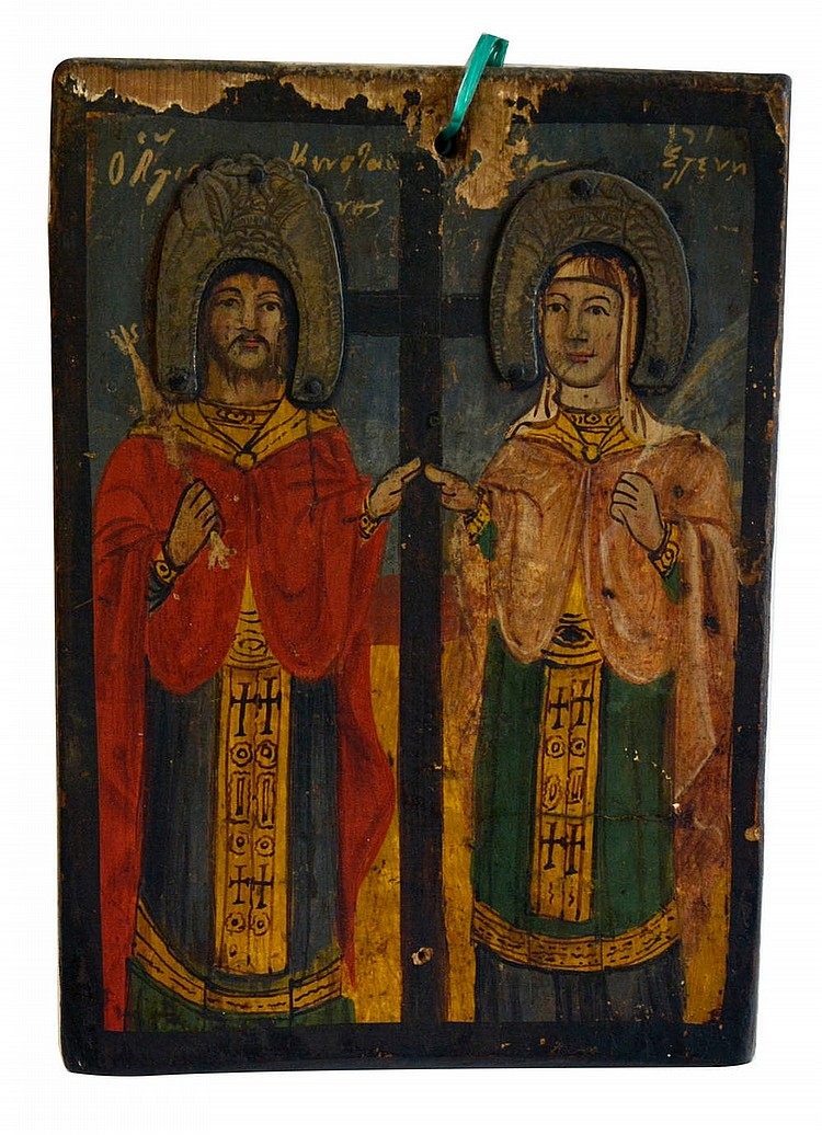 Russian icone of the XVII, Two Saints