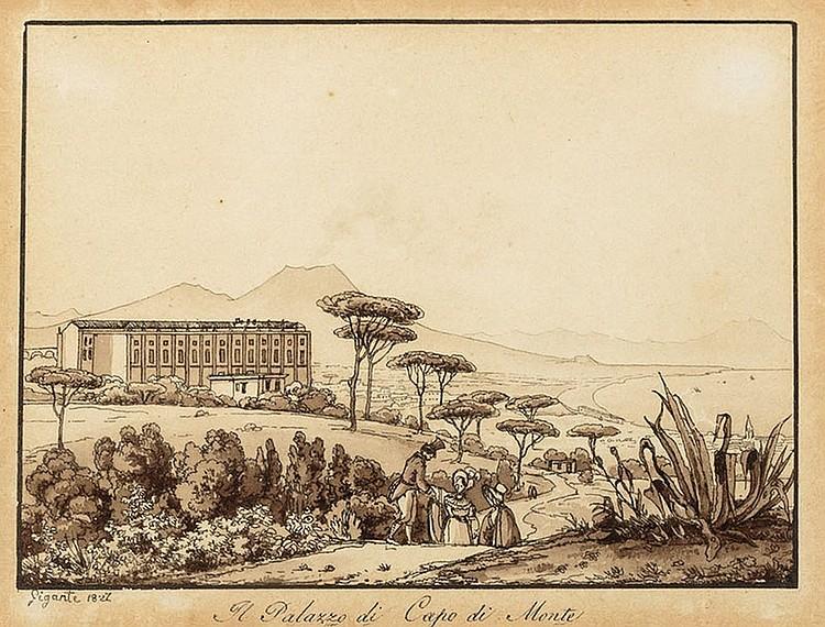 Giacinto Gigante (Attrib.) (Napoli 1806-1876) The palace of Capo di Monte
