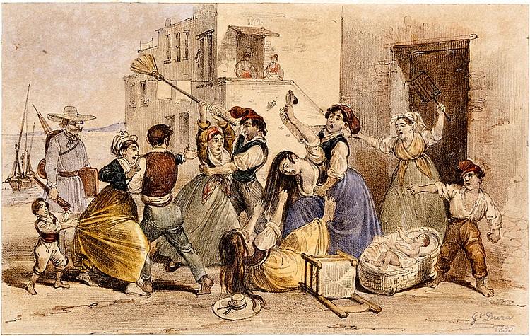 Gaetano Dura (Naples 1805 - 1878) Neapolitan dresses