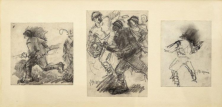 Francesco Di Marino (Napoli, 1892-1954)three drowings, charcoal on cardboard