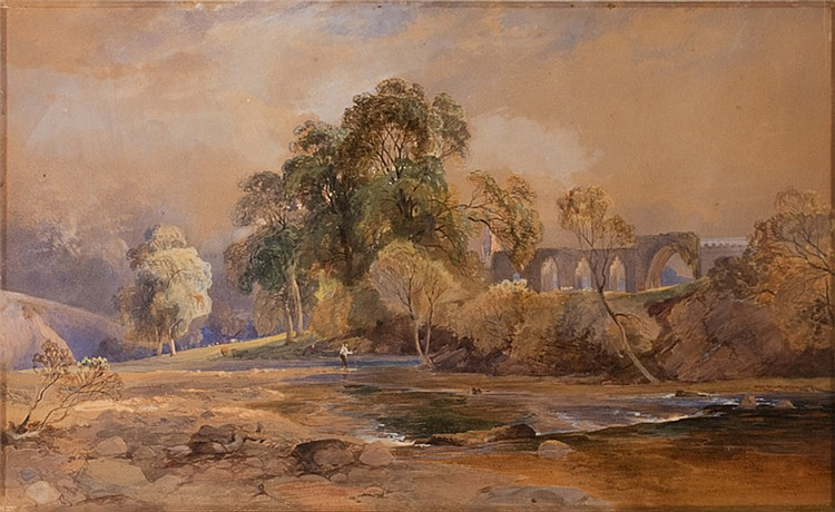 English School, Landscape with Ruins of G.L. Harvey, 19th century