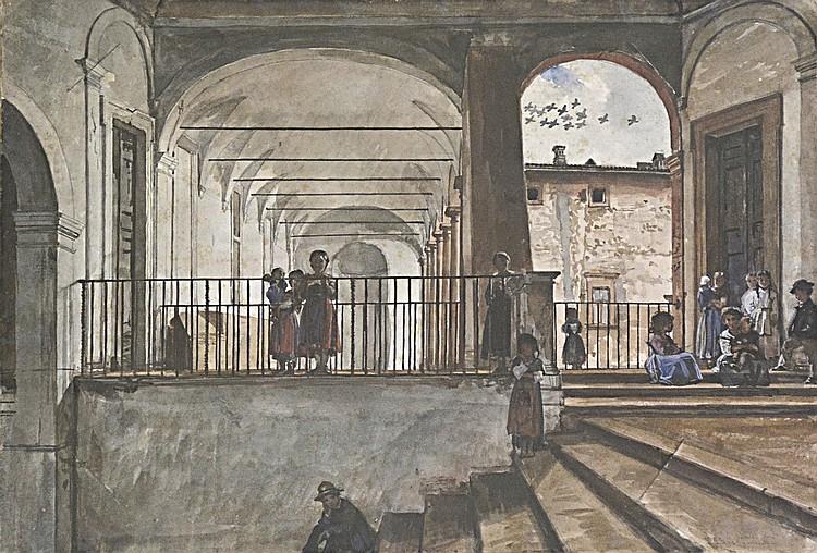Scipione Vannutelli (Attr.) (1834-1894), Children, Watercolor