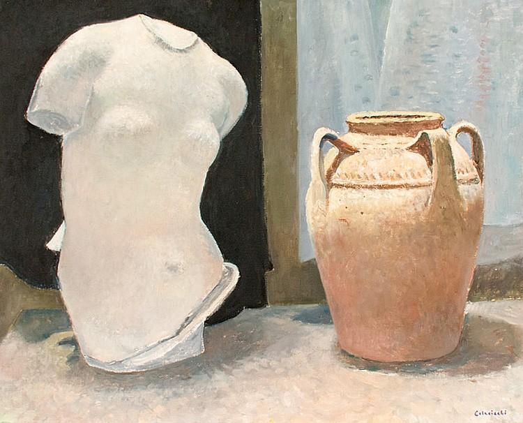 Giovanni Colacicchi, (Anagni,1990 - Firenze,1992) Still life with a marble torso and a ceramic jar