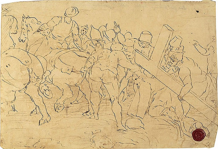 School of Giovanni Francesco Barbieri known il Guercino (Cento 1591 - Bologna 1666) Collection of six drawings