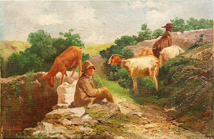 John Califano (Rome 1864 - Van Nuys, Los Angeles 1946), Resting sheperd