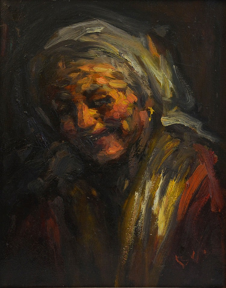 Painter of the firsth half of the XXth century. Portrait of an old woman,