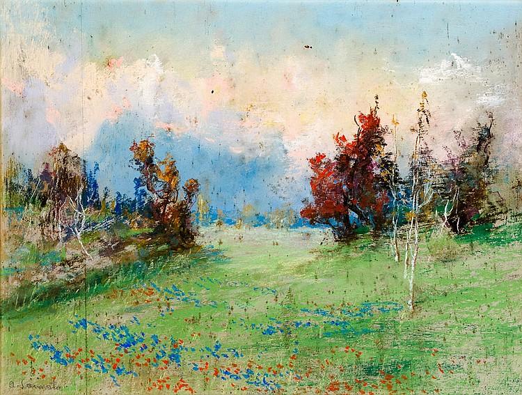 Antonio Cannata (1895-1960) Spring landscape