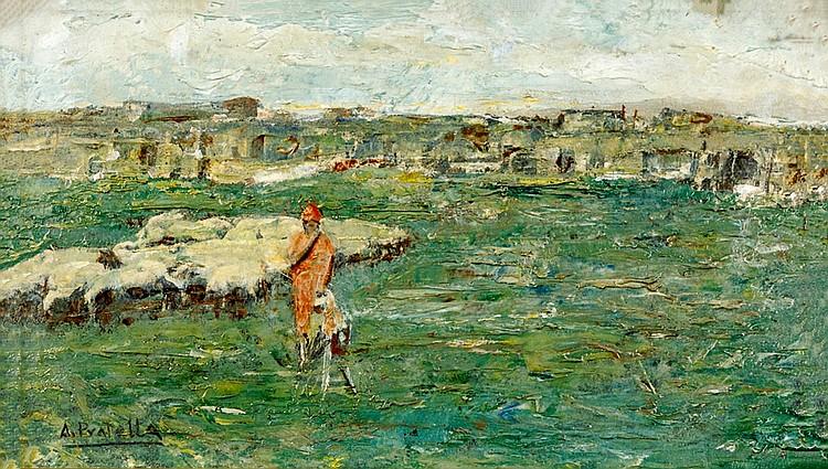 Attilio Pratella (Lugo 1856 - Naples 1949) Shepherdess and the Flock
