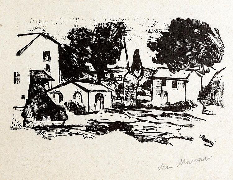 Mino Maccari (Siena 1898 - Rome 1989) View of the Village