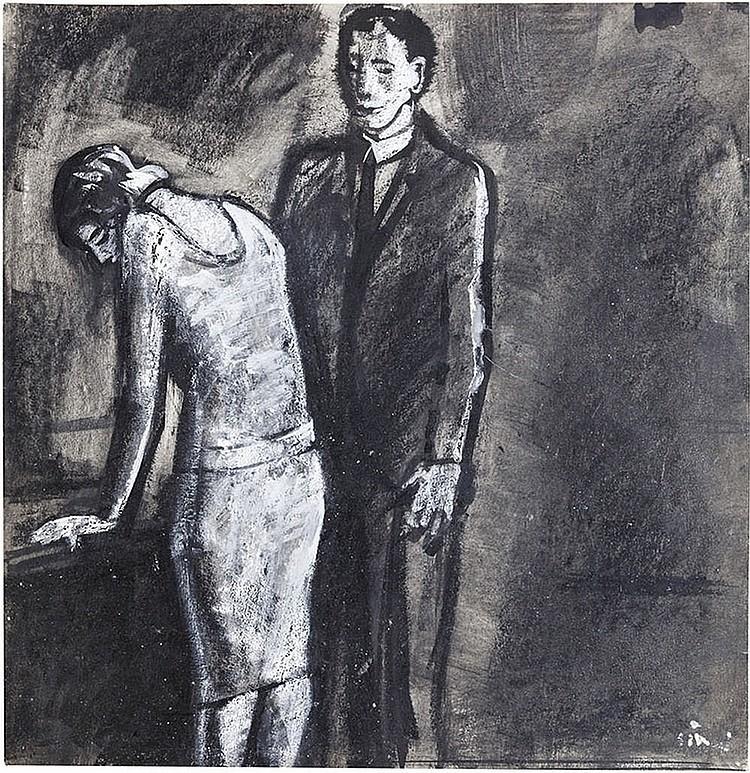 """Mario Sironi (Sassari 1895 - Milano 1961) authentic illustration for the novella """"Mia sorella"""", written by Enzo Grazzini, printed in: """"La Rivista Illustrata del Popolo d'Italia"""""""