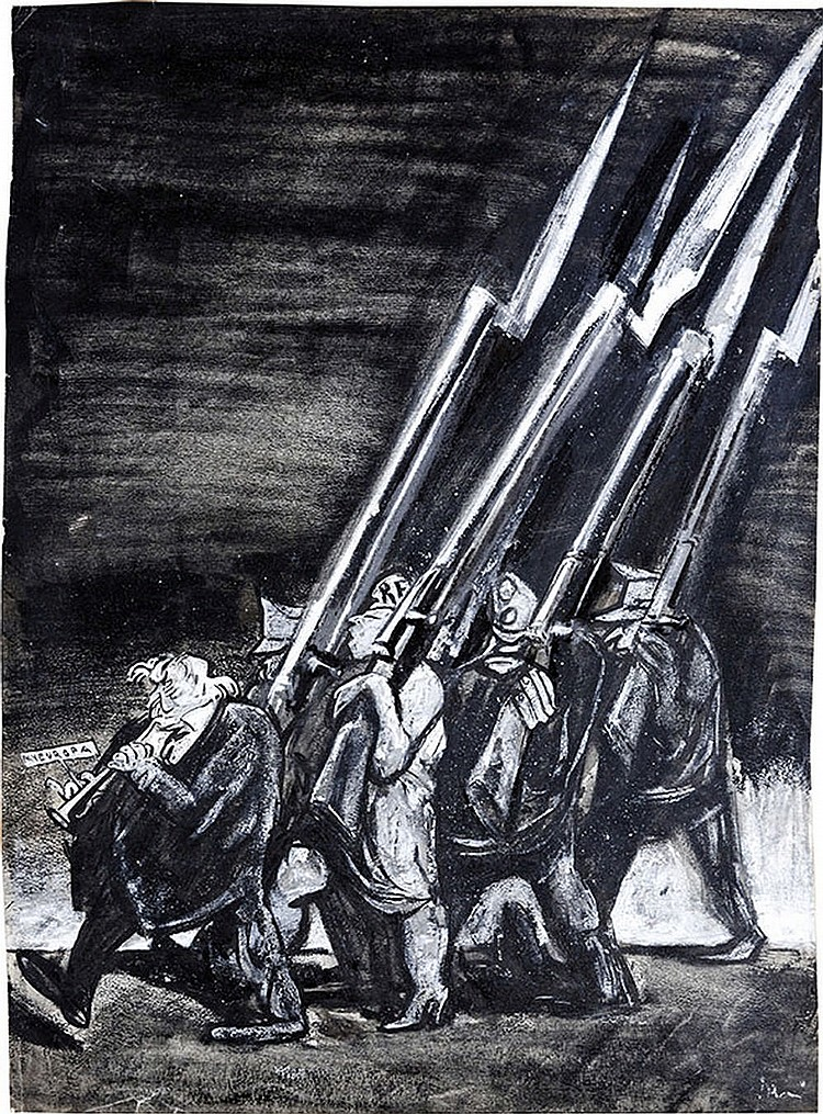 """Mario Sironi (Sassari 1895 - Milano 1961) PANEUROPA,  authentic illustration for """"La Rivista Illustrata del Popolo d'Italia"""""""