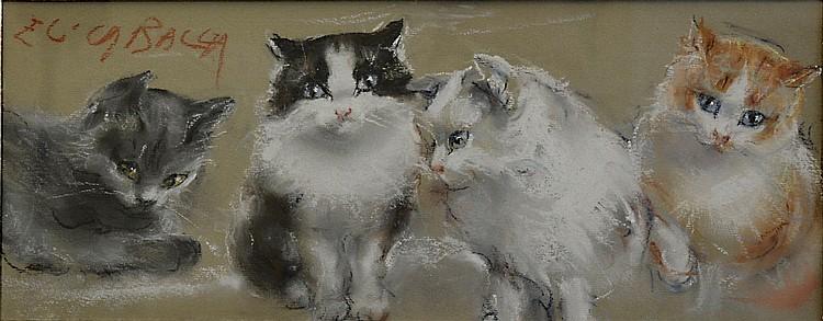 Elica Balla (1914-1993), Four kitties, 1950 ca